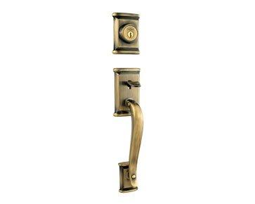 Kwikset 802ADHLIP-5 Ashfield Dummy Exterior Handleset Antique Brass Finish