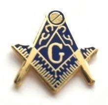 "Blue G Mason Square /& Compasses Masonic Freemason Lapel Pin 1/"""