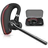 Bluetooth Headset HONSHOOP Bluetooth 5.0 Noise Reduction Bluetooth Earpiece in Ear Wireless Headphones Mic Earphones Business/Workout/Driving BlackRed