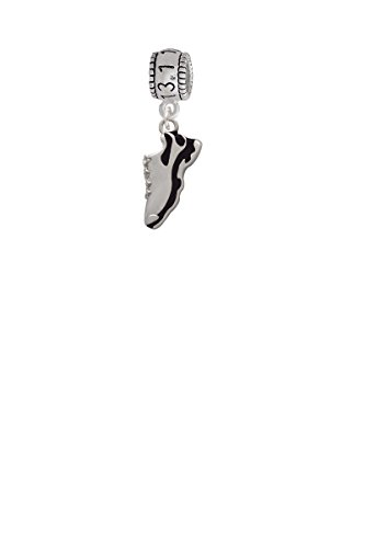 Enamel Shoe Charm Bracelet (Black Running Shoe Half Marathon 13.1 Run Charm Bead)