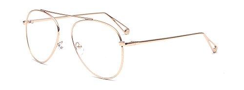 marco dorado metal gafas piloto gafas moda aviador ALWAYSUV claras de lente de 8UqS7Pgx