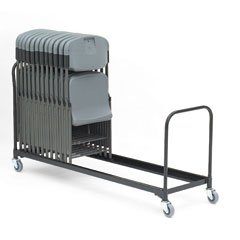 Iceberg ICE64048 Heavy Gauge Steel Chair Cart, 34 Folding Chairs Capacity, 8' Length, Black