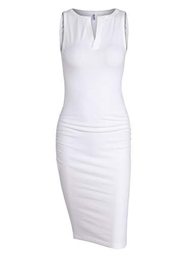 Missufe Women's Cute V Neck Casual Ruched Sundress Sheath Knee Length Bodycon Dress (Sleeveless White, X-Large)