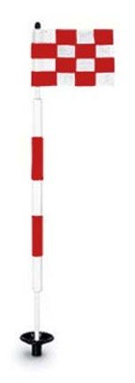 Tournament Jr. Flagstick Practice Green Marker / Checkered Flag Sets (Red) - Set of 9