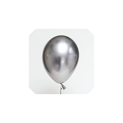 Gold and Black Latex Balloon Marble Metallic Balloon Wedding Adult Birthday Party Photography Props Decor,10 pcs Sliver -