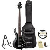 ESP F-104-BLK-KIT-1 4-String Electric Bass with Accessories and Gig Bag, Black