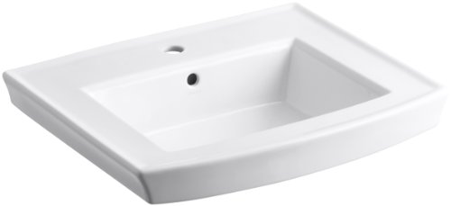 KOHLER K-2358-1-0 Archer Pedestal Bathroom Sink Basin with Single-Hole Faucet Drilling, White