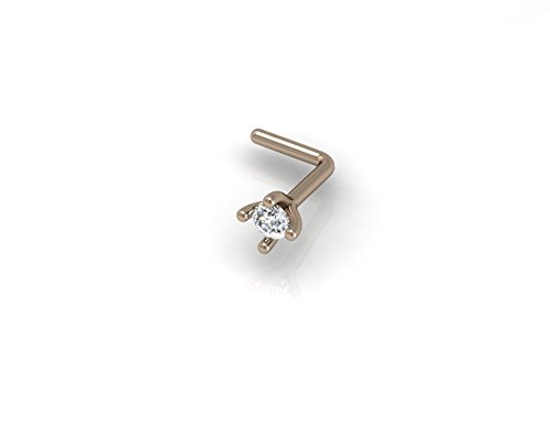 2.0mm Round Cut Diamond and 18K Rose Gold L Shaped Nose Pin/ Stud