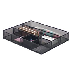 Brenton Studio(TM) Metro Mesh Large Drawer Organizer, 2 7/16in.H x 15 1/8in.W x 11 9/10in.D, Black (Office Depot Metro Mesh)