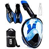 SNORKELSTAR Full Face Snorkel Set (Mask + Fins + Anti Fog + Drybag) (Best Snorkel Set For The Money)