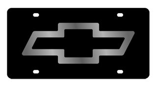 Genuine Chevrolet License Plate - Chevrolet Bowtie License Plate on Black Steel