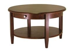 Concord Round Coffee Table with Drawer and Shelf-Antique Walnut