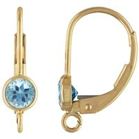 Gold Filled 10.0mm by 16.8mm Leverback Ear Ring With 4.0mm Blue Topaz Bezel Setting. Sold as - 2 Pieces Per Pack - [1-4-10-10-A]