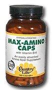 Country Life Max-amino avec b-6 (mélange de 18 acides aminés), 180-Comte