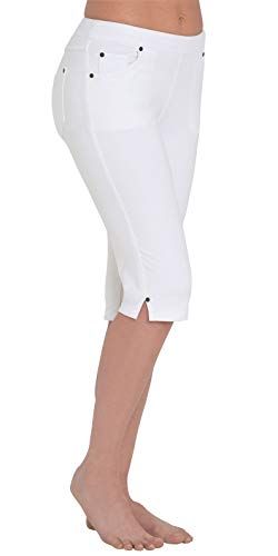 PajamaJeans Stretchy Capris for Women - Knee Length Shorts, White, X-Small / 0-2]()