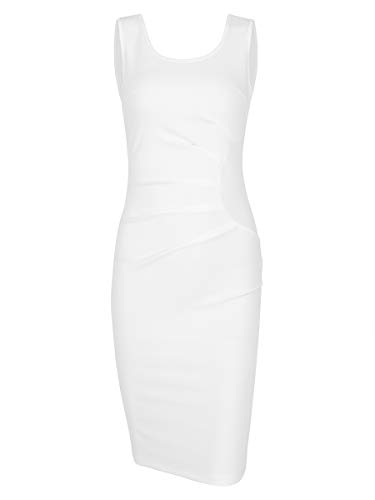 Missufe Women's Casual Summer Sleeveless Plus Size Bodycon Pencil Dress (White, X-Large)