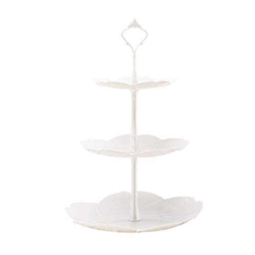 3-Tier Cupcake Stand Fruit Plate Cakes Desserts Fruits Snack Display Tower Plastic White for Wedding Home Birthday Tea Party Serving Platter (Cherry blossoms)