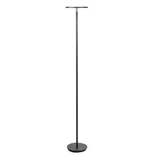 Brightech SKY LED Torchiere Floor Lamp – Energy Saving, Dimmable Adjustable Lamp, Reading Lamp– Modern Tall Standing Pole Uplight Lamp Light for Living Room, Dorm, Bedroom, and Office –Black