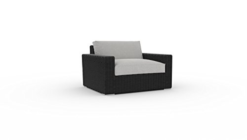 Toja Turo Outdoor Patio Chair | Wicker Rattan Body with Sunbrella Cushions (Half Round Wicker/Cast Silver) (Round With Cushion Big Chair Wicker)