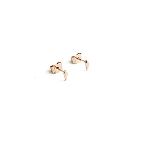 HONEYCAT Tiny Tusk Fang Bar Stud Earrings in 18k Rose Gold Plated | Minimalist, Delicate Jewelry (RG)