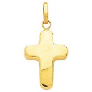 So Chic Bijoux © Pendentif Croix Christ Jésus Crucifix Arrondie Relief Creux Or Jaune 750/000 (18 carats)