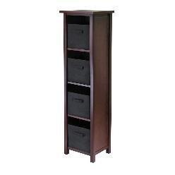 Walnut / Black Verona 4-Section N Storage Shelf with 4 Foldable Black Color Fabric Baskets