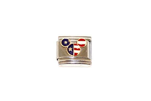 ITALIAN CHARM WALT DISNEY MICKEY MOUSE AMERICAN FLAG STAINLESS 9MM BRACELET - Mouse Italian Charm Bracelet