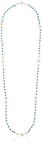 White Freshwater Cultured Pearl and Linked Simulated Turquoise on Gold Over Silver Endless Necklace, 36