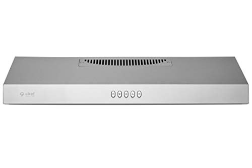 Hauslane | Chef Series 36' Under Cabinet Range Hood, Stainless Steel | PS18 | Contemporary Modern Design 860 CFM, Touch Screen w/Digital Clock, Dishwasher Safe Baffle Filters, LED Lamps, 3-Way Venting