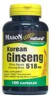 Mason Natural Korean Ginseng 518 Mg White Panax Ginseng Root Capsules - 100 Ea - Korean White Ginseng