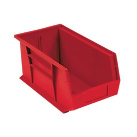Quantum QUS240 Plastic Stacking Bin, 8-1/4 x 14-3/4 x 7 Red - Lot of 12