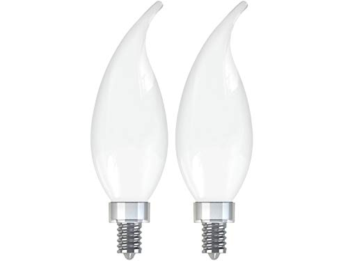 GE Lighting 31412 Frosted Finish Light Bulb Relax HD Dimmable LED Decorative 4 (40-Watt Replacement), 300-Lumen Candelabra Base Bent Tip, 4-Pack White, - Two Candelabra 40w