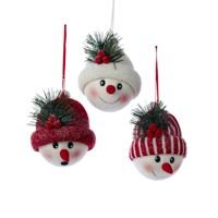 Kurt Adler 1 Set 3 Assorted 5 Inch Snowman Head With Hat Fabric Ornaments