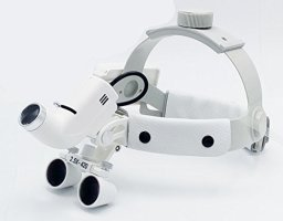 Dental Surgical Medical 2.5X420mm Adjustable Headband Loupe with LED Headlight DY-105 White by Sololife (Image #1)