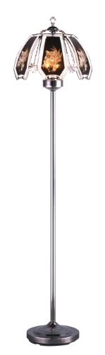 Price comparison product image HPP Inc Tiger Glass Touch Floor Lamp,  Dark Chrome