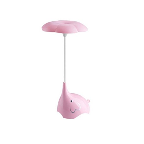 Transer Elephant LED USB Rechargeable Night Light Touch Sensor Control Desk Lamp Gift (Pink)