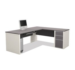 Bestar Connexion L-Shaped Workstation with 1 Pedestal in Sandstone (Desk Corner Bestar)