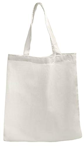 Reusable Grocery Bags - Canvas Tote for Shopping, Produce, Vegetables - Pack of 12 (15 x 16 inch, White)