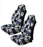 A Set of 2 Universal-fit Hawaiian Front Bucket Seat Covers for SUV / Truck Seats with Armrest - Blue Hawaiian Hibiscus Floral Print