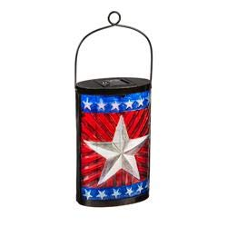 Evergreen Garden Patriotic Flag Solar Glass Lanterns, Set of 2