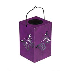 Evergreen Garden Butterfly, Dragonfly, and Daisy Solar Metal Outdoor Lanterns, Set of 3