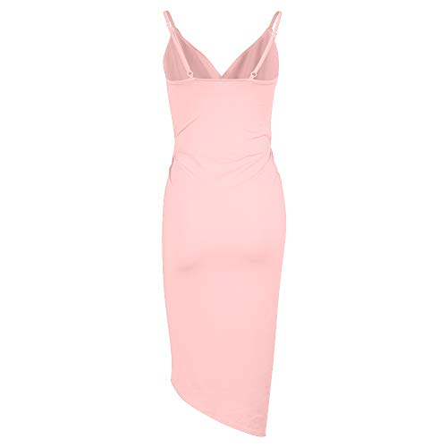 Spaghetti Neck Women's Front Dresses Bandage Midi V Sleeveless Strap DAMAI Sexy YS Bodycon Pink Slit Club X Wrap Dress RqCwXIn