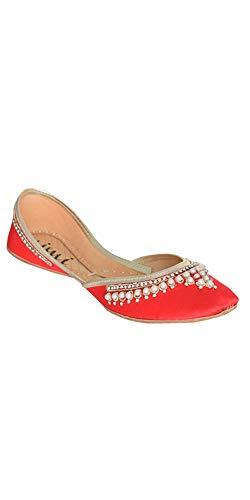 (Mimi Red Wedding Flat Shoes Khussa Jutti Mojari Women's Size 9)