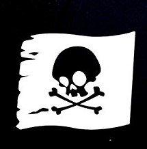 Candy White T-shirt (Skull Flag Pirate Flag Decal Vinyl Sticker Cars Trucks Vans Walls Laptop  WHITE  5.25 x 4.5 in CCI913)