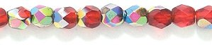 Preciosa Czech 3-mm Fire-Polished Glass Bead, Faceted Round, Ruby Vitrail, 300/pack