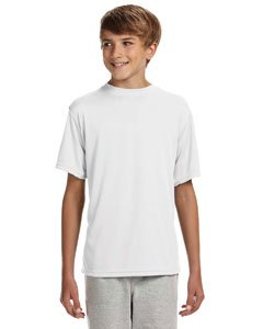 A4 Youth Cooling Performance Crew Short Sleeve T-Shirt, White, Small