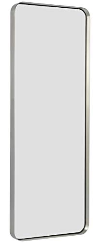 Hamilton Hills Contemporary Brushed Metal Tall Silver Wall Mirror | Glass Panel -