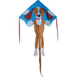 """Kite - Large Easy Flyer - Sparky Dog (46"""" X 90"""") with 300 Ft 30lb Test Kite String and Winder"""