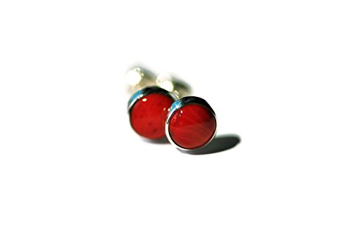 Red Coral and Polished Sterling Silver 6mm Stud Earrings