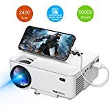 Mini Projector, TOPVISION 2400Lux Projector with Synchronize Smart Phone Screen, Supported 1080P, 176ines Display, 50,000 Hours Led, Compatible with TV Stick, HDMI, VGA, USB, TV, PS4, Laptop, and DVD ()